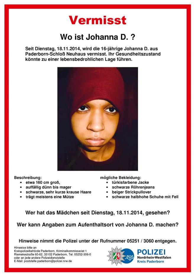 Vermisste Johanna: Polizei veröffentlicht Foto | Radio Hochstift